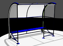 Bus shelter with ergonomic bench WINDOLINE