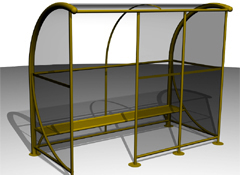 ARTOTEC Bus shelter with ergonomic bench WINDOLINE